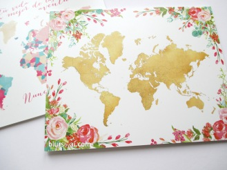 floral world map printed on forex