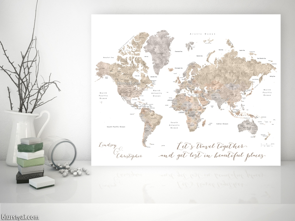 What I am doing today… personalized world map – blursbyai