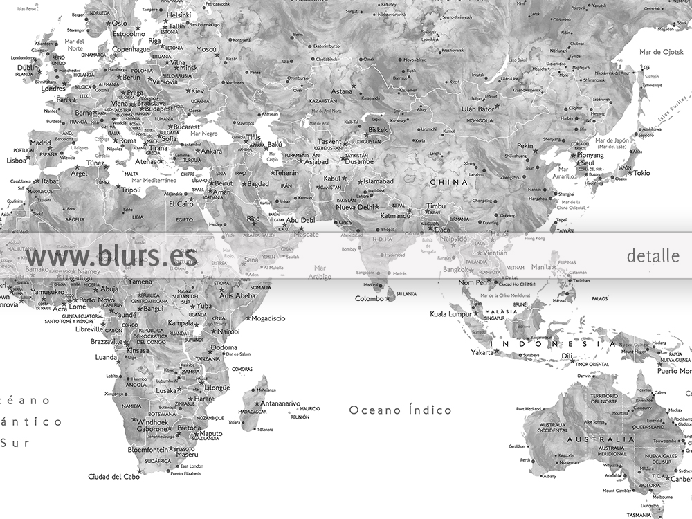 New world maps in spanish with cities countries and states and another couple colors gumiabroncs Choice Image