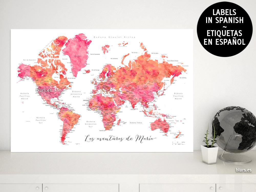 mapamundi personalizado con nombres de paises en espaol para