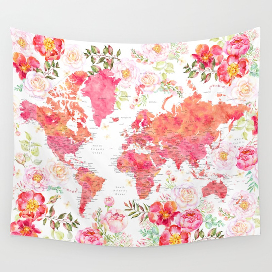 floral world map tapestries
