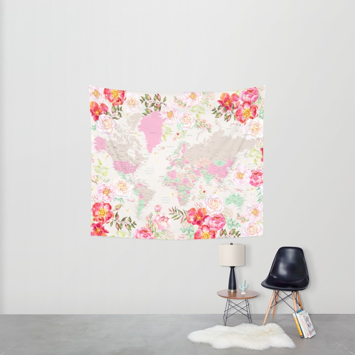 Floral world map tapestries blursbyai and boy they are colorful aquamarine watercolor floral world map tapestry gumiabroncs Choice Image