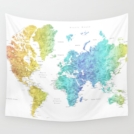World Map Wall Tapestries Blursbyai - Check off map
