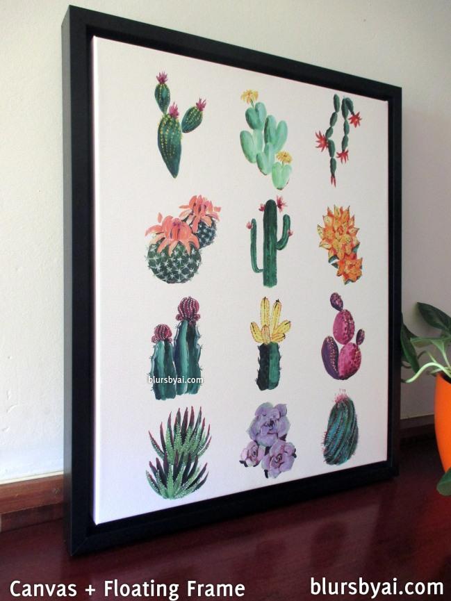 black floating frame canvas print cacti illustration
