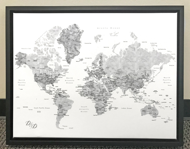 Black floating frame canvas push pin map grayscale watercolor with capitals