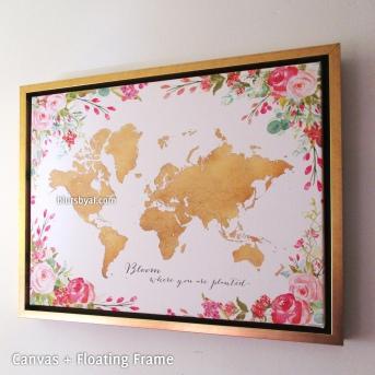 gold floral framed canvas world map