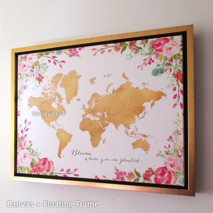 gold floral framed canvas world map