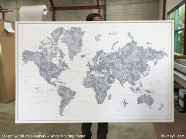 large detailed world map push pin white frame gray world sm