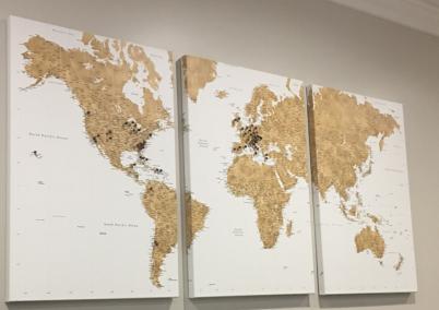 map 3 canvas prints gold