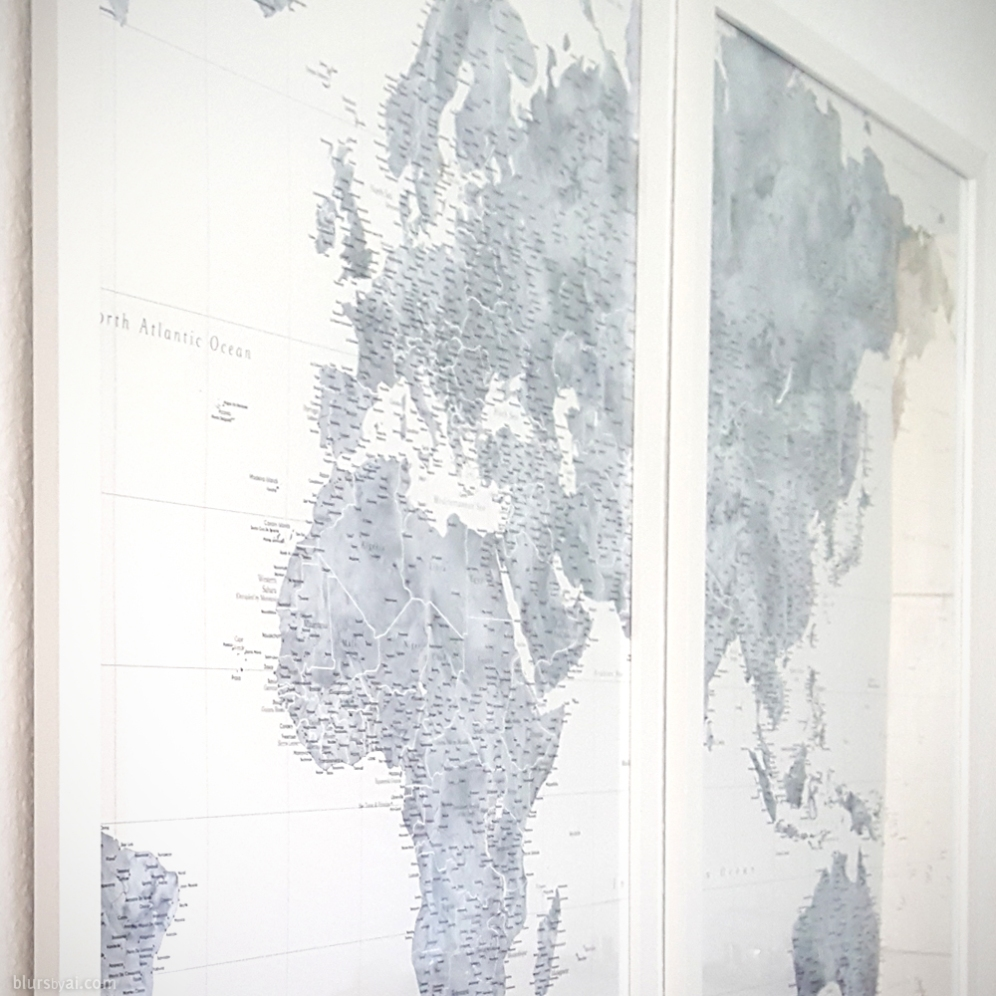 Highly Detailed World Map Jimmy In White Frames Blursbyai - How to hang a large map