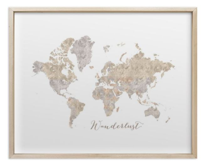 brass gold framed world map watercolor neutrals
