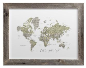 lets get lost green world map watercolor with cities rustic frame