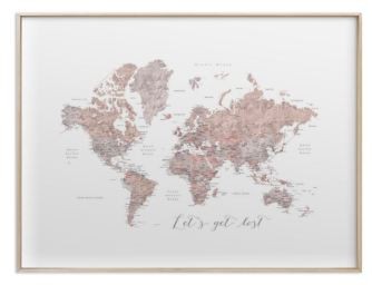 lets get lost world map watercolor with cities brass frame gold