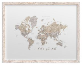 lets get lost world map watercolor with cities rustic frame