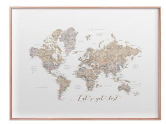 lets get lost world map watercolor with cities thin metallic rose gold frame