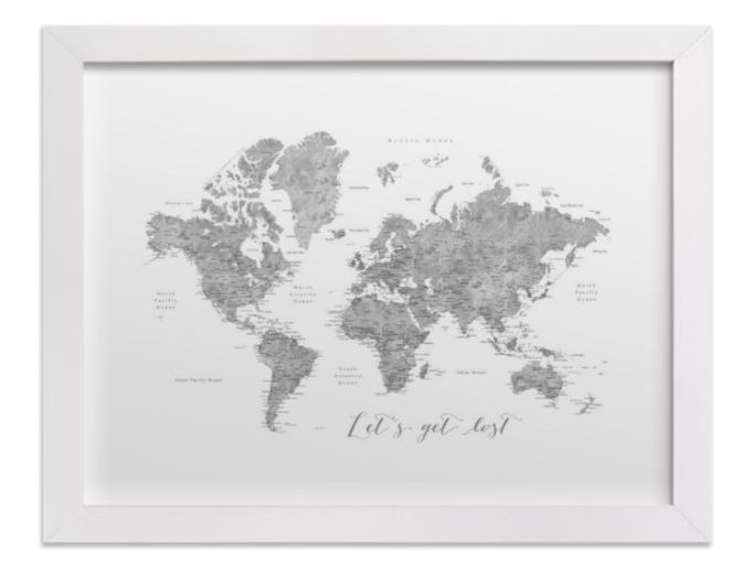 lets get lost world map watercolor with cities white frame