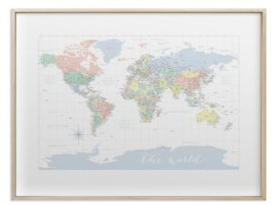 Pastels nursery world map with cities gold frame blursbyai related gumiabroncs Gallery