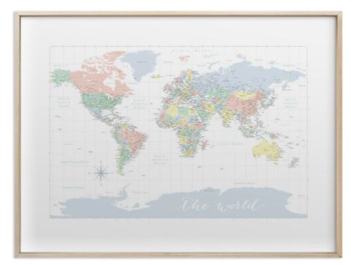 pastels nursery world map with cities gold frame