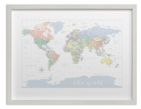 pastels nursery world map with cities gray frame