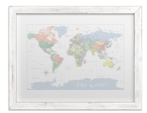 pastels nursery world map with cities white distressed frame