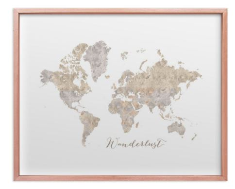 rose gold framed world map watercolor neutrals