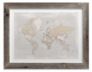 Rustic distressed detailed world map with cities, framed