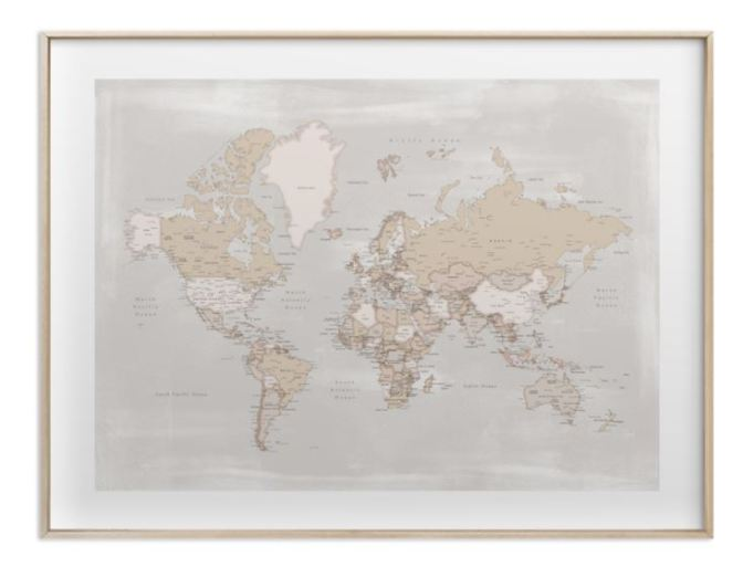 Rustic distressed detailed world map with cities gold brass frame