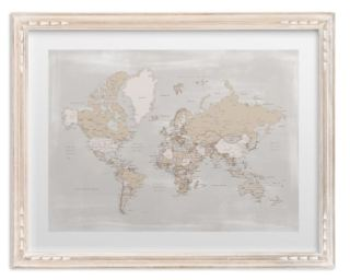 Rustic distressed detailed world map with cities whitewashed french farm frame