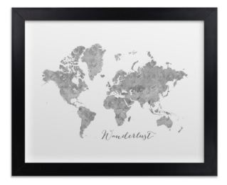 small gray world map with black wood frame