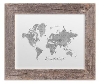 small gray world map with rustic barnwood frame