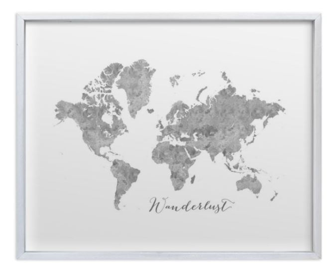 small gray world map with silver thin frame