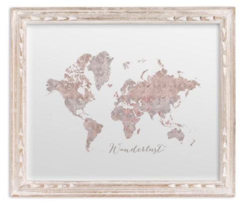 small world map watercolor french farmhouse frame