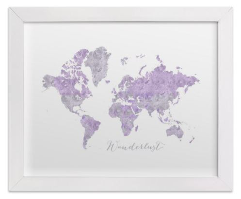 small world map watercolor lavander white frame
