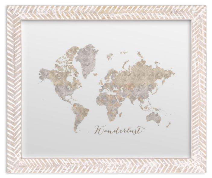 small world map watercolor rustic frame
