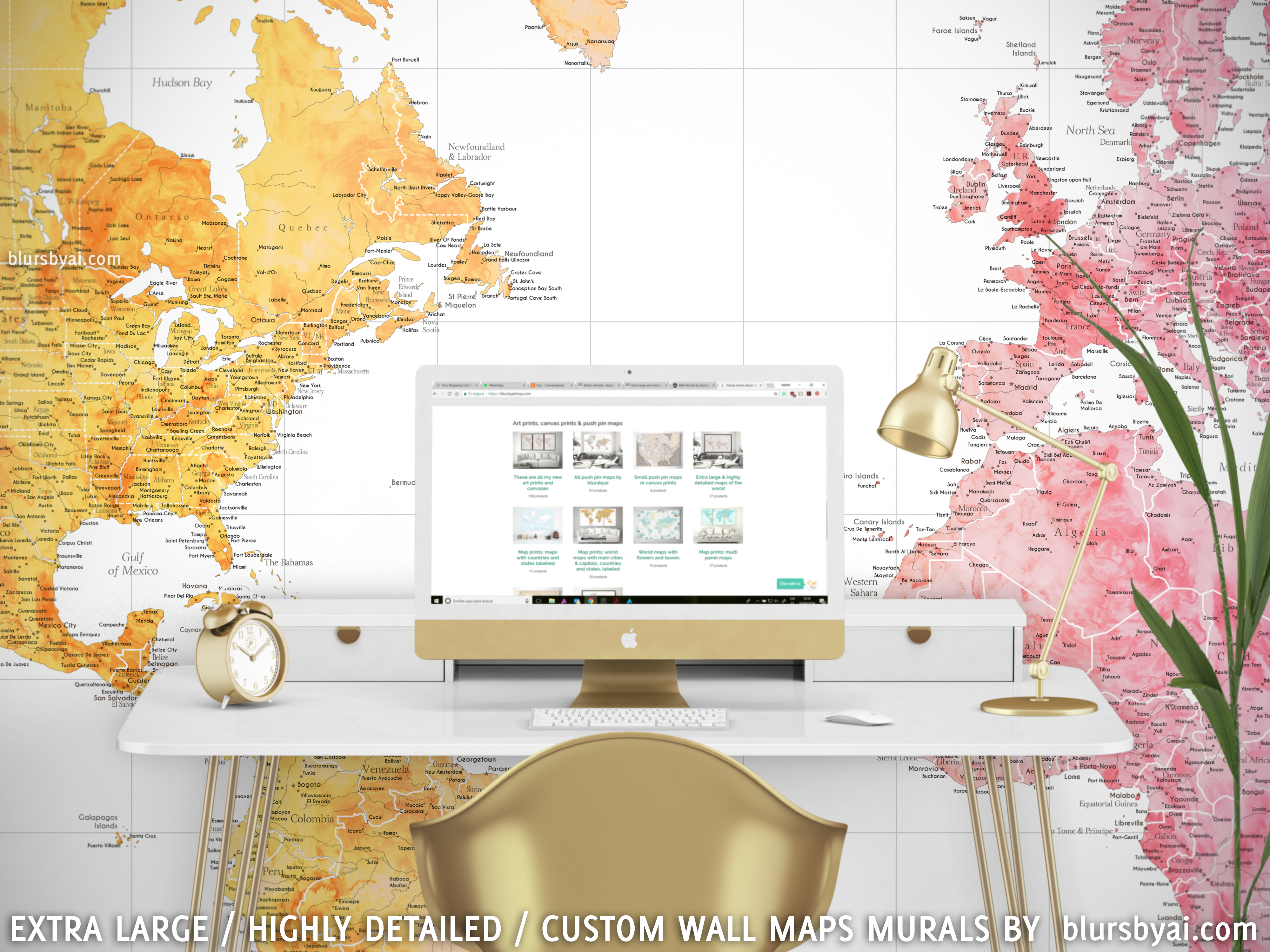 Extra large and extra detailed world map wall murals by blursbyai