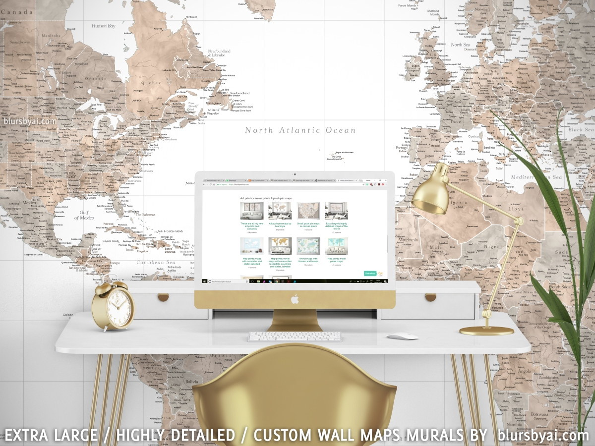 Brown and grey world map wall mural abey blursbyai gumiabroncs Gallery