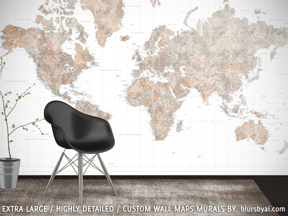 Brown and grey world map wall mural Abey blursbyai