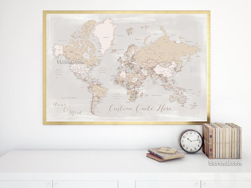 Lucille Rustic Personalized World Map Available As With Cities And Countries States Labelled