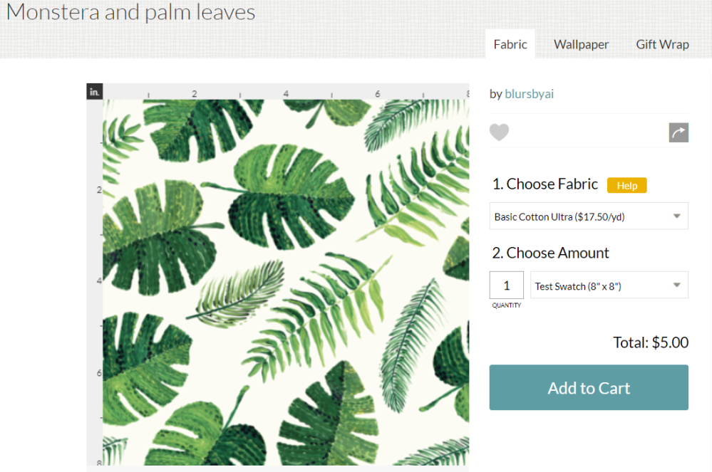 monstera and palm leaves fabric by blursbyai (1)