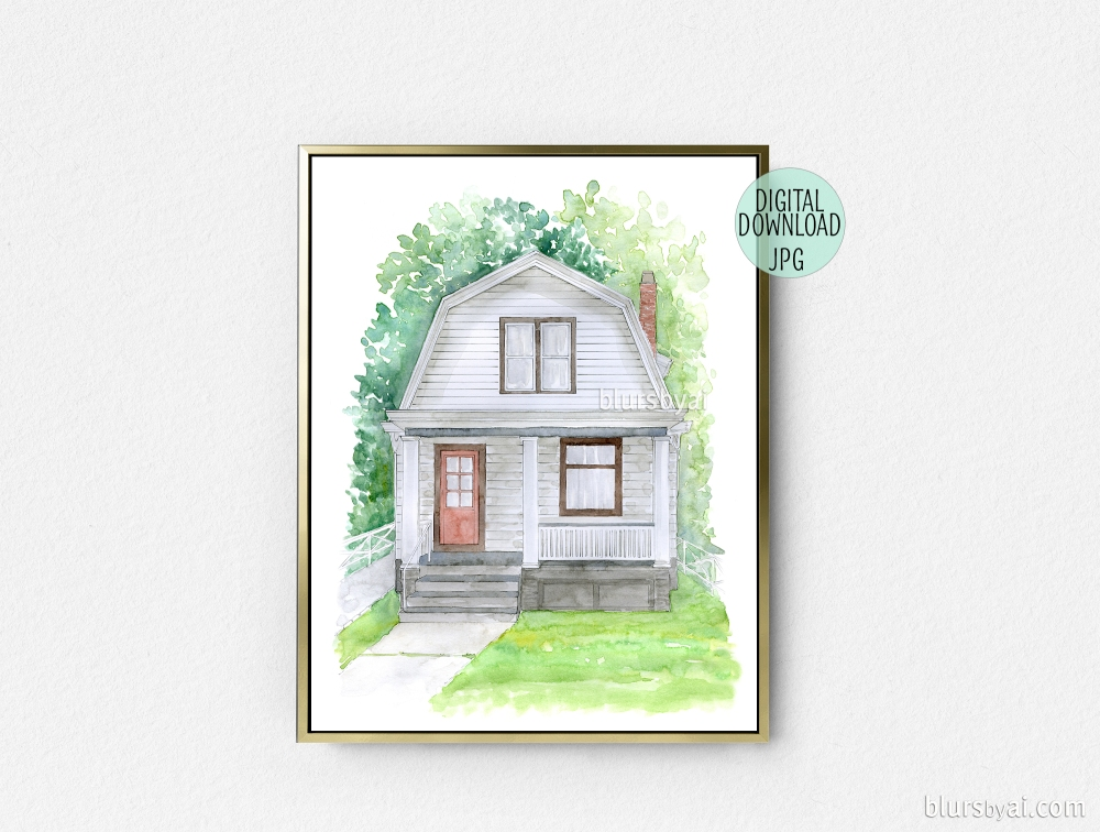 watercolor house portrait by blursbyai