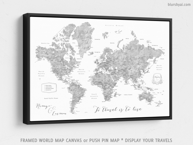 black frame framed canvas push pin map of the world by blursbyai (4)