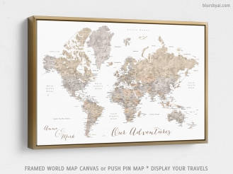 gold frame -framed canvas push pin map of the world by blursbyai (3)