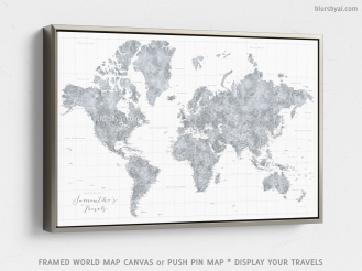 silver frame - framed canvas push pin map of the world by blursbyai (1)