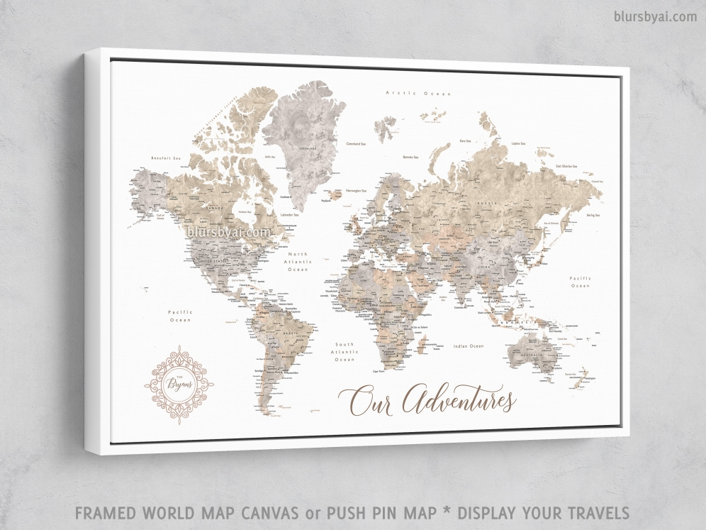 white frame - framed canvas push pin map of the world by blursbyai (2)