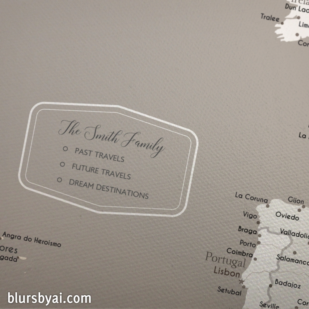 custom map key map legend with family name for push pin travel maps