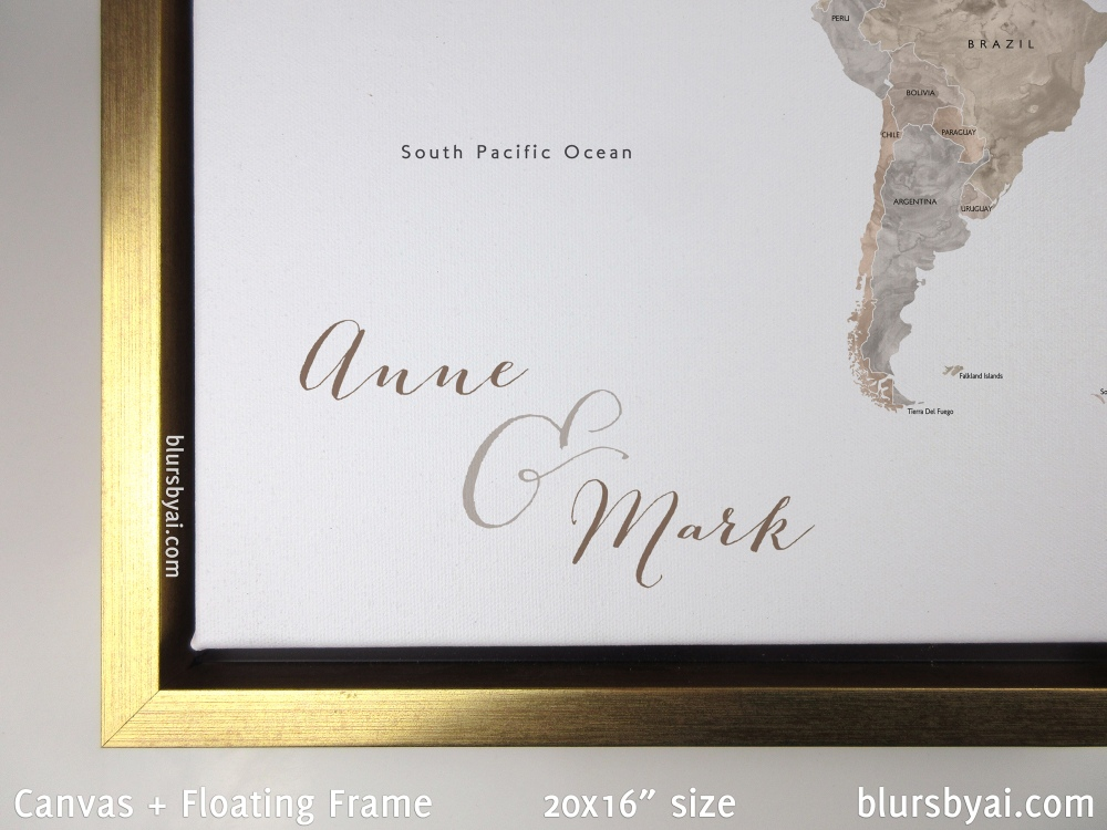 custom neutral watercolor world map push pin as framed canvas with gold floating frame by blursbyai_sm