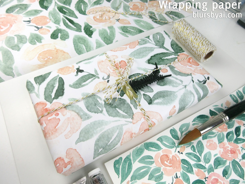 wrapping paper by blursbyai world map and watercolor floral patterns (1)