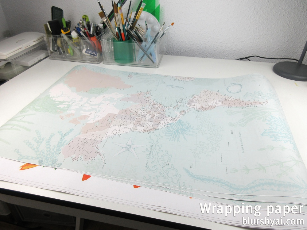 wrapping paper by blursbyai world map and watercolor floral patterns (4)