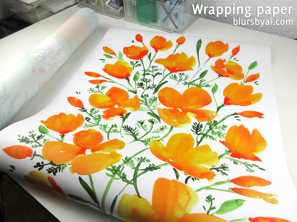 wrapping paper by blursbyai world map and watercolor floral patterns (5)