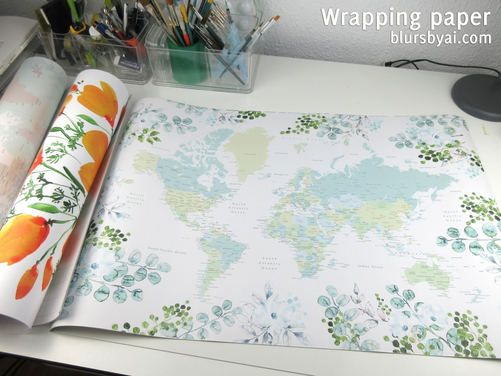 wrapping paper by blursbyai world map and watercolor floral patterns (6)